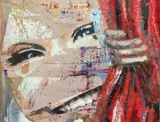 Der_Vorhang_Öl_auf_LW_Collage_auf_LW