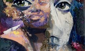 Micky Focke On A Par With Adults 2020 30x30cm Oil on Photoprint Canvas